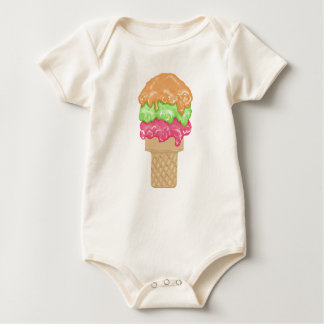 Triple Scroop Ice Cream Cone Treat Baby Bodysuit