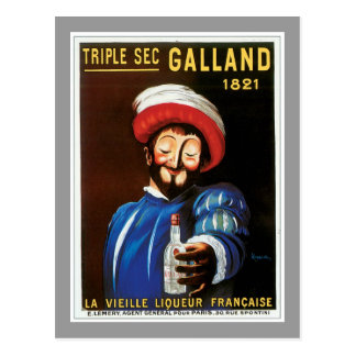 Triple Sec Galland 1821 Vintage Drink Ad Art Postcard