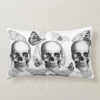 Triple Skull with Butterflies LARGE pillow