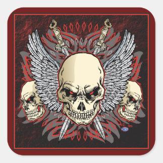 triple skulls of death design richard legarreta square sticker