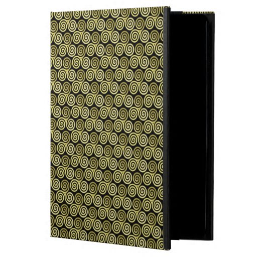 Triple spiral Gold black background iPad Air Covers