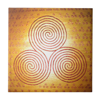 Triple Spiral Labyrinth Ceramic Tile