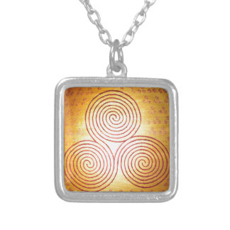 Triple Spiral Labyrinth Silver Plated Necklace