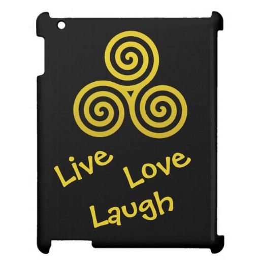 Triple spiral Live Love Laugh Gold iPad Case