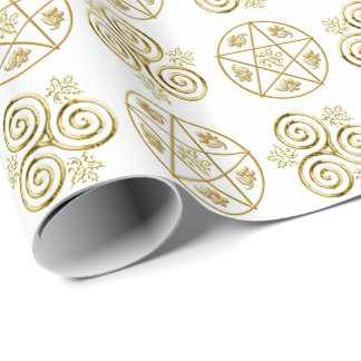 Triple-Spiral & Pentacle -1- Wrapping Paper