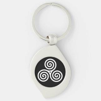 Triple spiral White Silver-Colored Swirl Metal Keychain