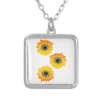 Triple Sunflowers Silver Plated Necklace