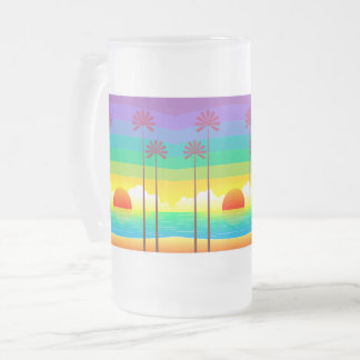 Triple Sunset Frosted 16 oz Frosted Glass Mug