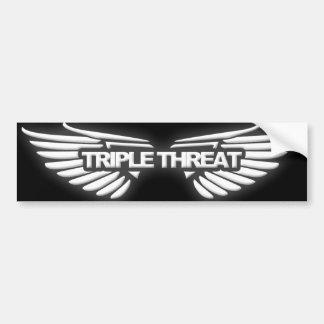 Triple Threat Bumper Sticker Car Bumper Sticker