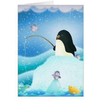 Triple trouble penguins - Greeting card