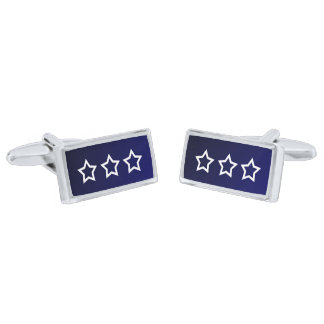 Triple White Outlined Stare/Blue Design Silver Finish Cuff Links