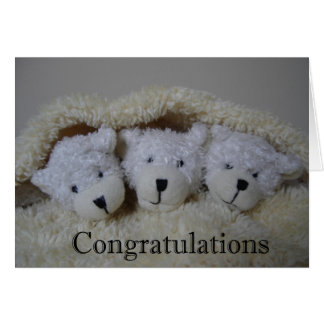 triplet bears congratulations card