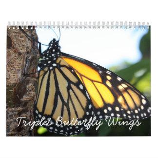 Triplet Butterfly Wings Wall Calendar