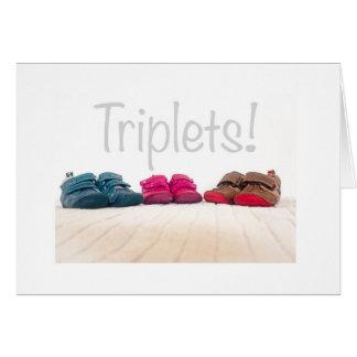 Triplets birth greetings card