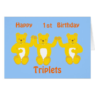 Triplets Birthday Card, add year/names Card