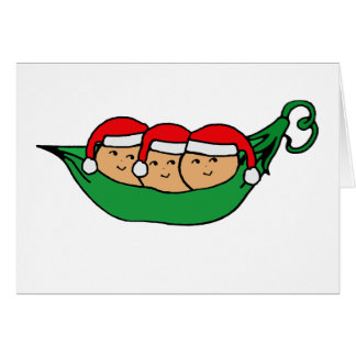 Triplets Christmas Pod Graphic Card