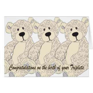 Triplets Congratulations Teddy Bear in creams Card