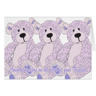 Triplets Congratulations Teddy Bear in pink Greeting Card