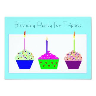 Triplets Cupcake Birthday Invitation
