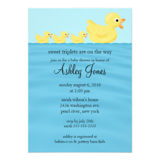 Triplets Duck Baby Shower Custom Announcement