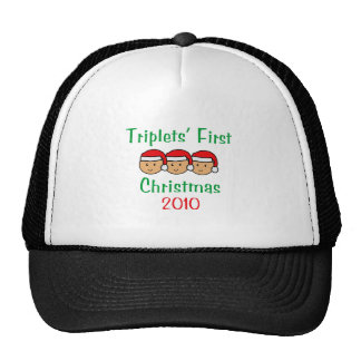 Triplets First Christmas Hats