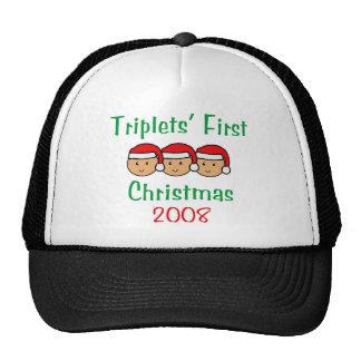 Triplets First Christmas - Santa Hats 2008
