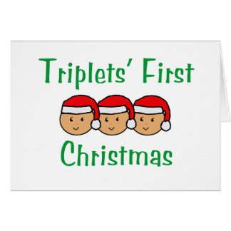 Triplets First Christmas - Santa Hats (no date) Card