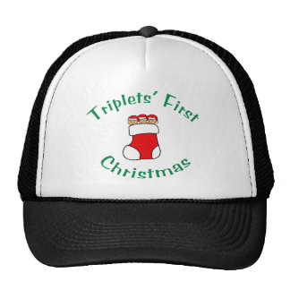 Triplets First Christmas - Stocking no date Hats