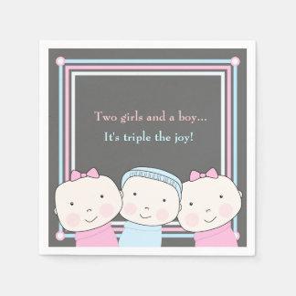 Triplets Girl Boy Pink Blue Baby Joy Napkin Paper Napkin