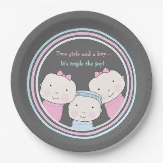Triplets Girl Boy Pink Blue Baby Joy Trio 9 Inch Paper Plate