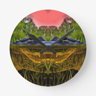Trippy Alligator Round Clock