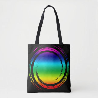 Trippy Bright Rainbow Swirling Circle on Black Tote Bag