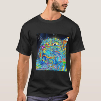 Trippy Cat Art Graphic Tshirt Cat Shirt