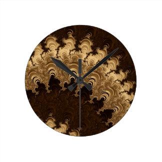 Trippy Coffee Cream Fractal Art Round Clock