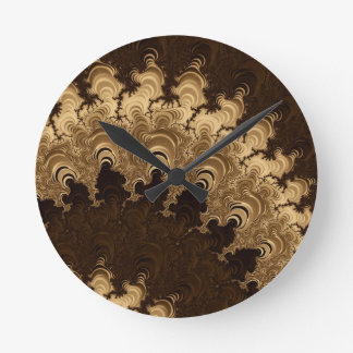 Trippy Coffee Cream Fractal Art Wallclock