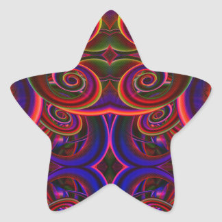 Trippy Florescent Abstract Star Stickers
