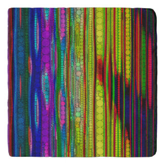 Trippy Florescent striped abstract Trivet