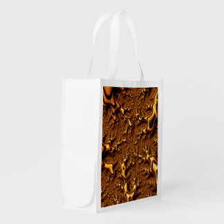 Trippy Fractal Art Chocolate Pudding Abstract Reusable Grocery Bag