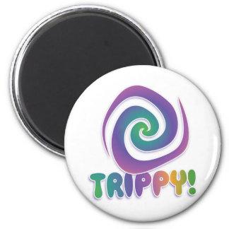 trippy! Groovy 70s psychadellic swirl 6 Cm Round Magnet
