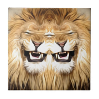 Trippy Happy Lion Small Square Tile