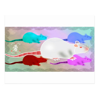 Trippy Hippy Rainbow Pet Rats Postcard