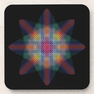 Trippy Multicolored Star on Black Surface Coaster