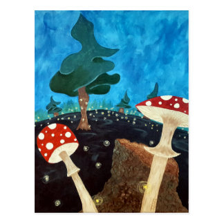 trippy night in the woods postcard