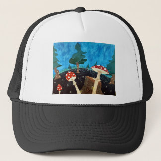 trippy night in the woods trucker hat