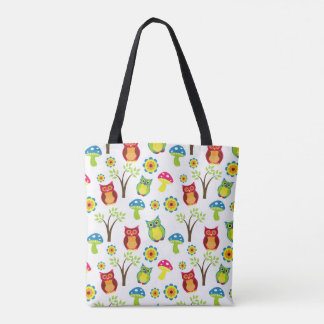 Trippy owl and mushrooms tote bag