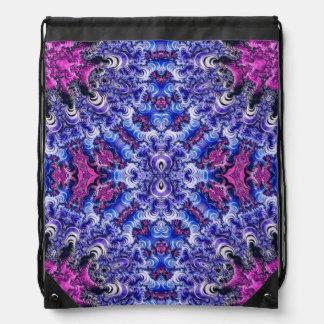 Trippy Pink Purple Blue Fractal Drawstring Bag