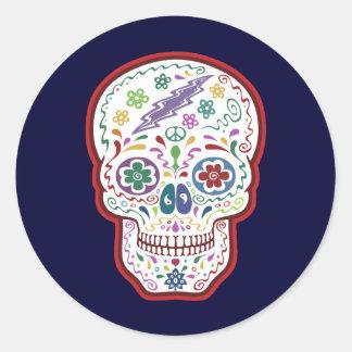 Trippy Sugar Skull Round Sticker