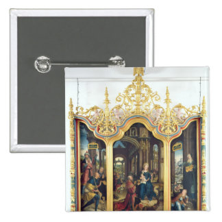Triptych of the Adoration of the Infant Christ 15 Cm Square Badge