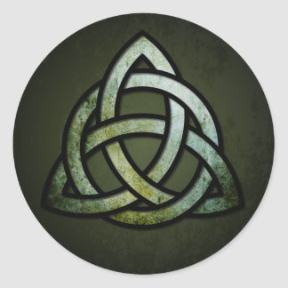 Triquet Celtic Knot (silver & black, grunge green) Classic Round Sticker