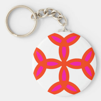 Triquetra Cross in Bright Red Hot Pink Basic Round Button Key Ring